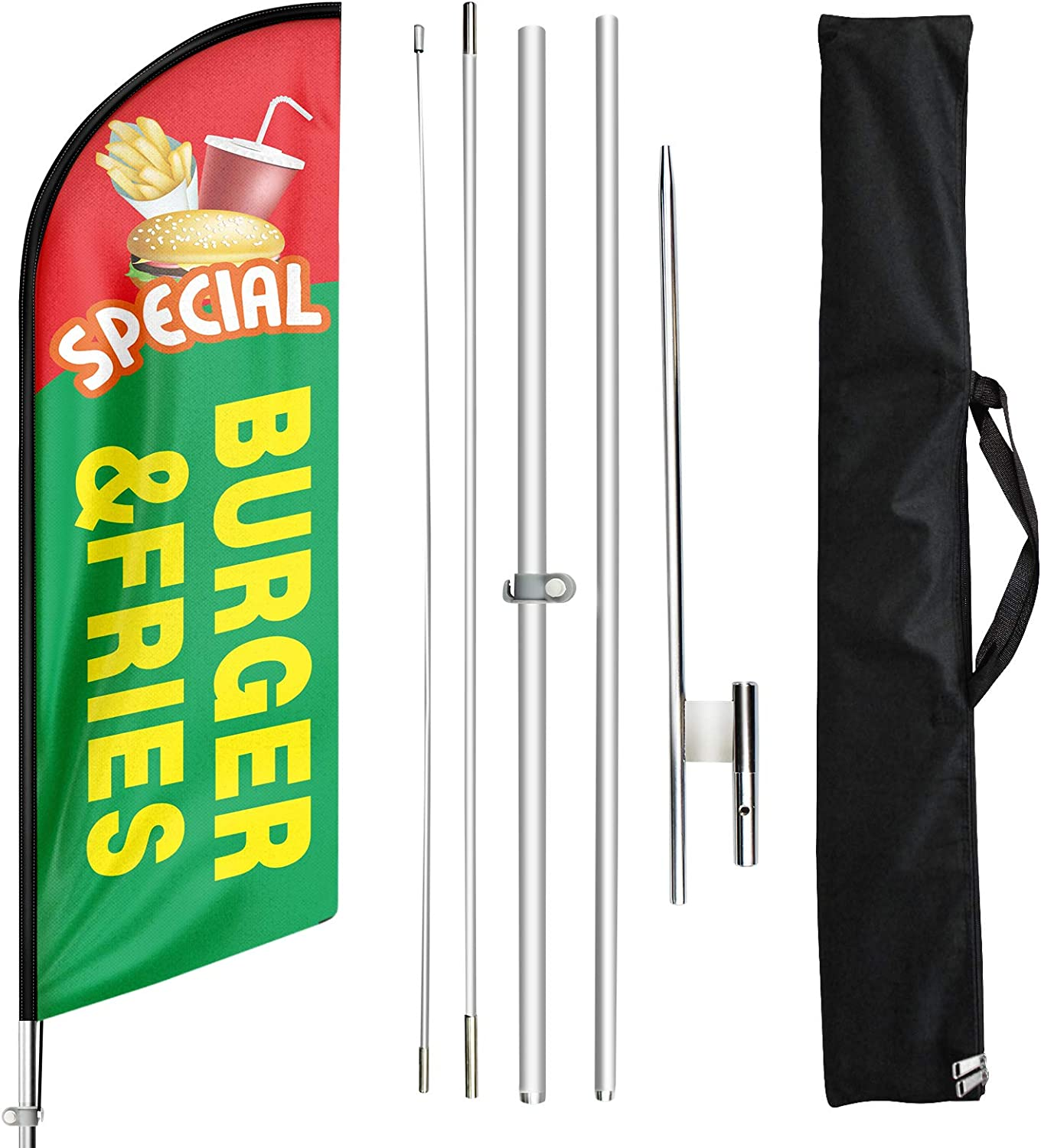 FSFLAG Swooper Flag and Pole Kit - Open Flags for Businesses -11 Ft Feather Flag for Burger and Fries - Advertising Feather Banners Signs with Flag Pole Kit and Ground Stake