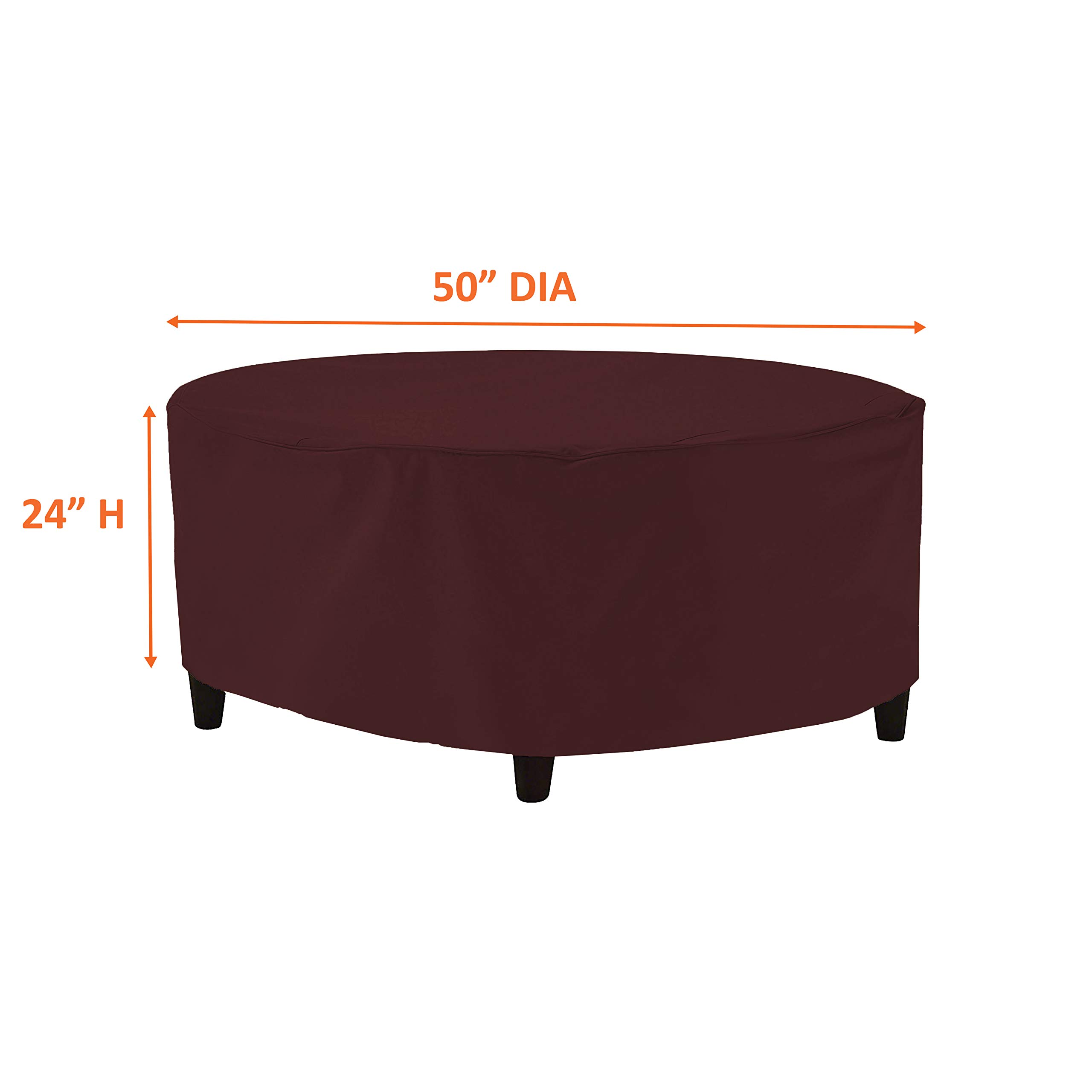 Outdoor Ottoman Cover 18 Oz - Waterproof & Weather Resistant Patio Furniture Covers - Round Ottoman Cover Heavy Duty Fabric with Drawstring for Snug fit (50'' Dia x 24'' H, Burgundy) by COVERS & ALL (Image #2)