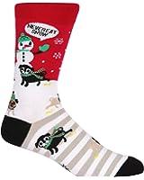 Sock It To Me Men's Christmas Crew Socks - Never Eat Snow,Multi-color,7-13