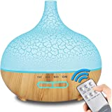 ENHOOTA Diffuser, 400ML Diffusers for Essential Oil Aromatherapy Wood Grain Humidifier Electric Ultrasonic Air Aroma Diffuser with 4 Timer, Cool Mist, Waterless Auto-Off, Mist Mode, 7 Color LED Lights