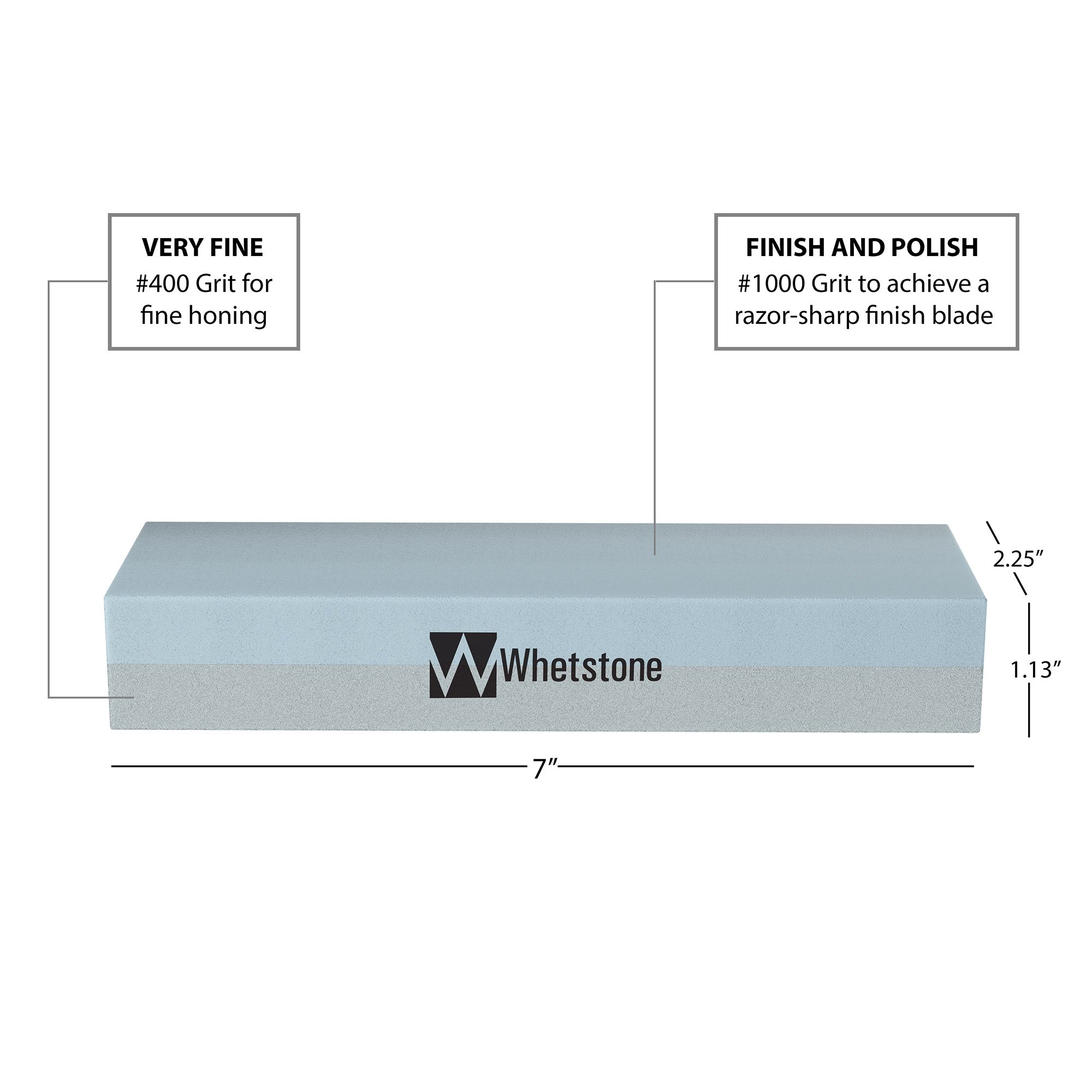 Whetstone Cutlery 20-10960 Knife Sharpening Stone-Dual Sided 400/1000 Grit Water Stone-Sharpener and Polishing Tool for Kitchen, Hunting and Pocket Knives or Blades by Whetstone by Whetstone Cutlery (Image #2)