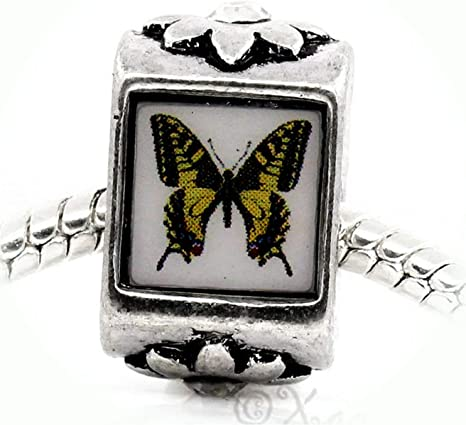 Antiqued Bracelet Pendant Charm with Lobster Clasp Monarch Butterfly