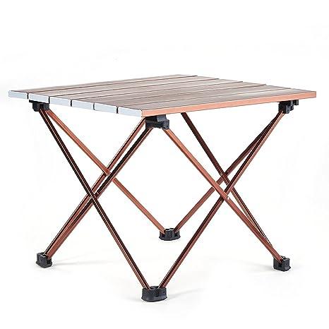 Lega di Alluminio Colore Marrone e Bianco Movaty Tavolo Multifunzione Leggero Pieghevole Tavolo da Campeggio Portatile con Borsa da Trasporto per Picnic Campeggio Dimensioni Piccole e Grandi