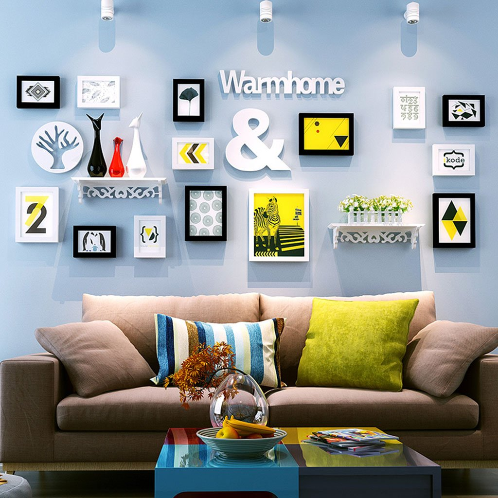 Home@Wall photo frame Decorative Frame Wall, Photo Frame Wall Sets Of 14 Photo Wall Suspension No Trace Nails Creative Decorative Paintings Set ( Color : A )