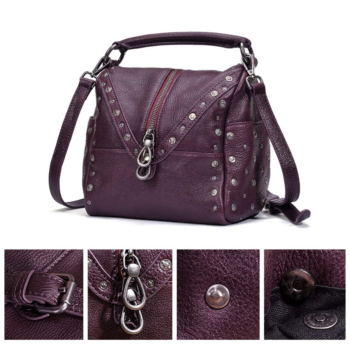 女性の新しいハンドバッグ、パーソナライズされたリベットヴィンテージショルダーバッグ大容量メッセンジャーバッグ,purple,20*13*19cm B07RTGFNJC purple 20*13*19cm