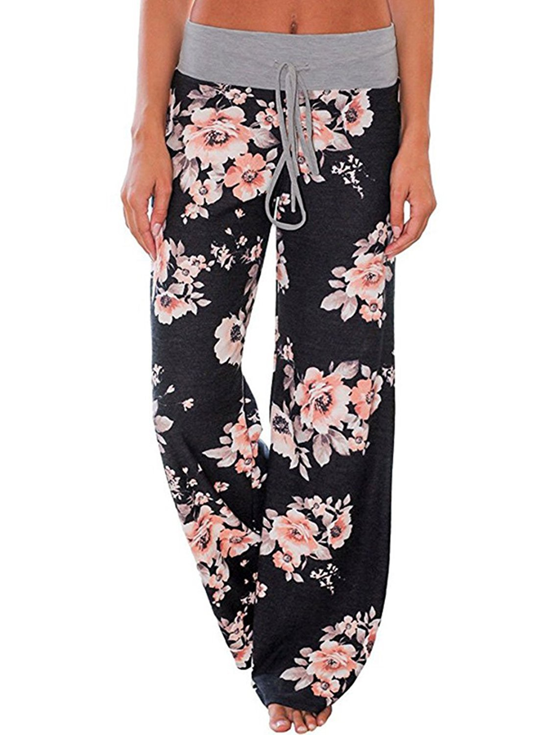 US-straight Women's Floral Print Comfy Stretch Drawstring Palazzo Wide Leg Lounge Pants (L, 0486-Black)