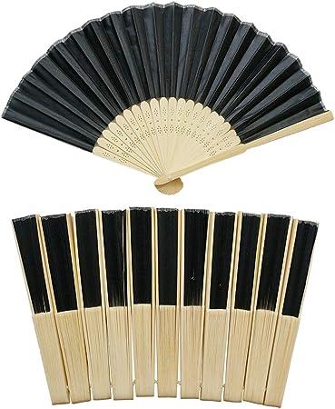 YXJD Abanicos De Mano Plegable China Ventilador Negro Bonito Regalo Madera para Decoración Boda Detalles DIY Abanico Artesanal Pintado 12 Unidades