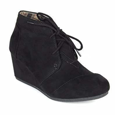 fe8cec2e33acd Forever Link Women's Round Toe Lace Up Wedge Heels Suede Ankle Boots  Booties,5 B