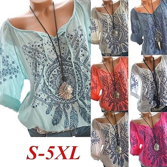 Mujer y Niña otoño fashion fiesta carnaval,Sonnena ❤ Camisa de las mujeres que imprimen la manga de tres cuartos de galón para la oficina del trabajo con ...
