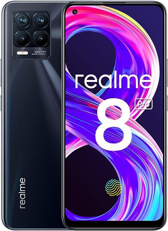 """realme 8 Pro Smartphone, Ultra Quad Camera da 108 MP, Display Super AMOLED da 16,3 cm (6,4""""), Ricarica SuperDart da 50W, Grande batteria da 4.500 mAh, Dual Sim, NFC, 6+128GB, Punk Black"""