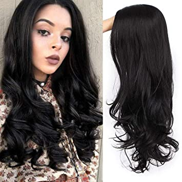Black Wavy Wig for Women Long Middle Part Wigs Natural Wig for Daily Use Heat Resistant