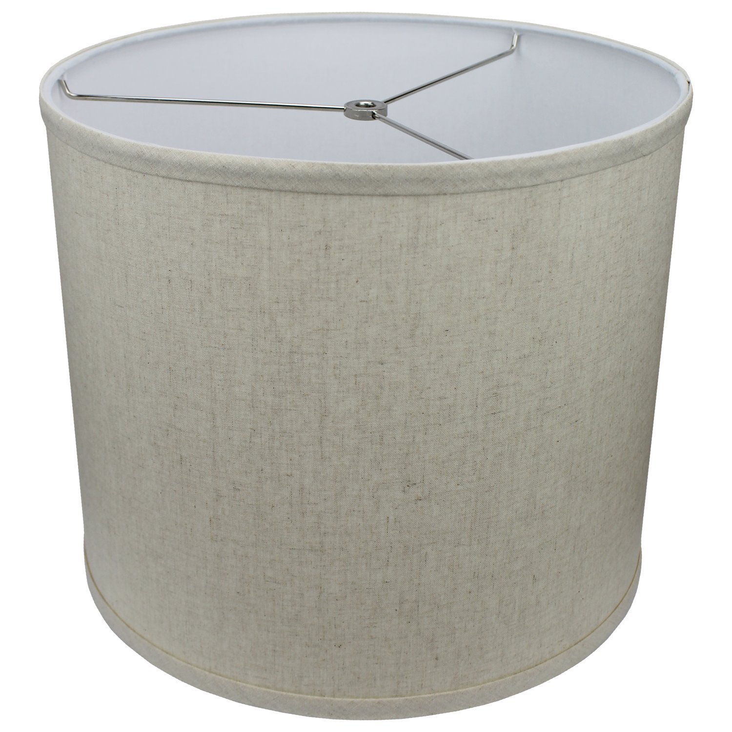 FenchelShades.com 14'' Top Diameter x 14'' Bottom Diameter 12'' Height Cylinder Drum Lampshade USA Made (Couture Natural)