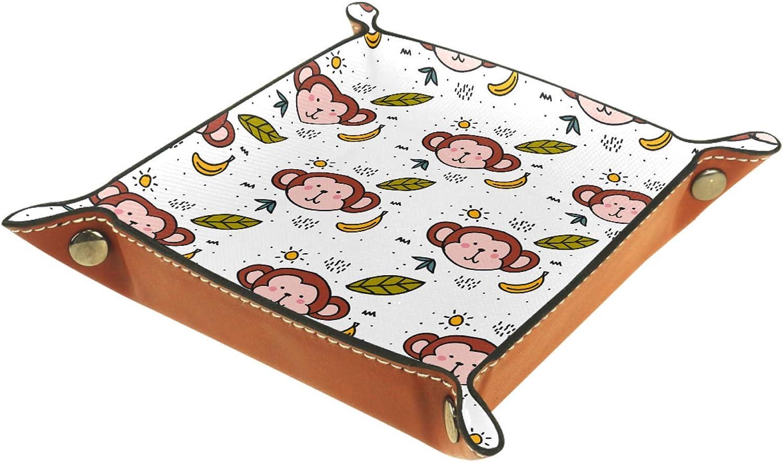 Leaf Banana Monkey Storage Box Basket Desktop Organizer Decorative Tray Suitable for Home Office Desk Drawer Dressing Table 8.07x8.07in
