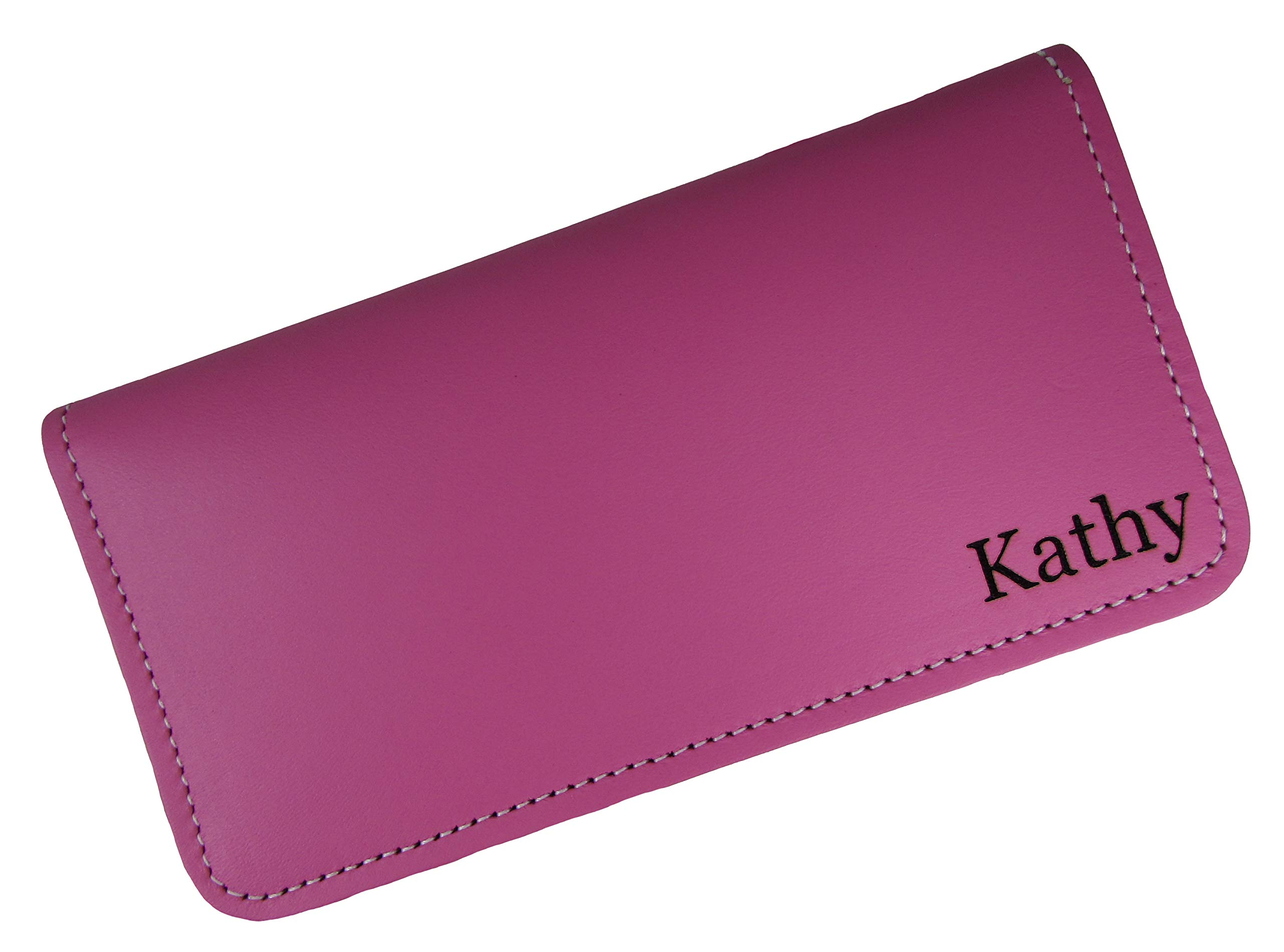 Personalized First Name or Monogram Leather Checkbook Cover, Pink by North Star