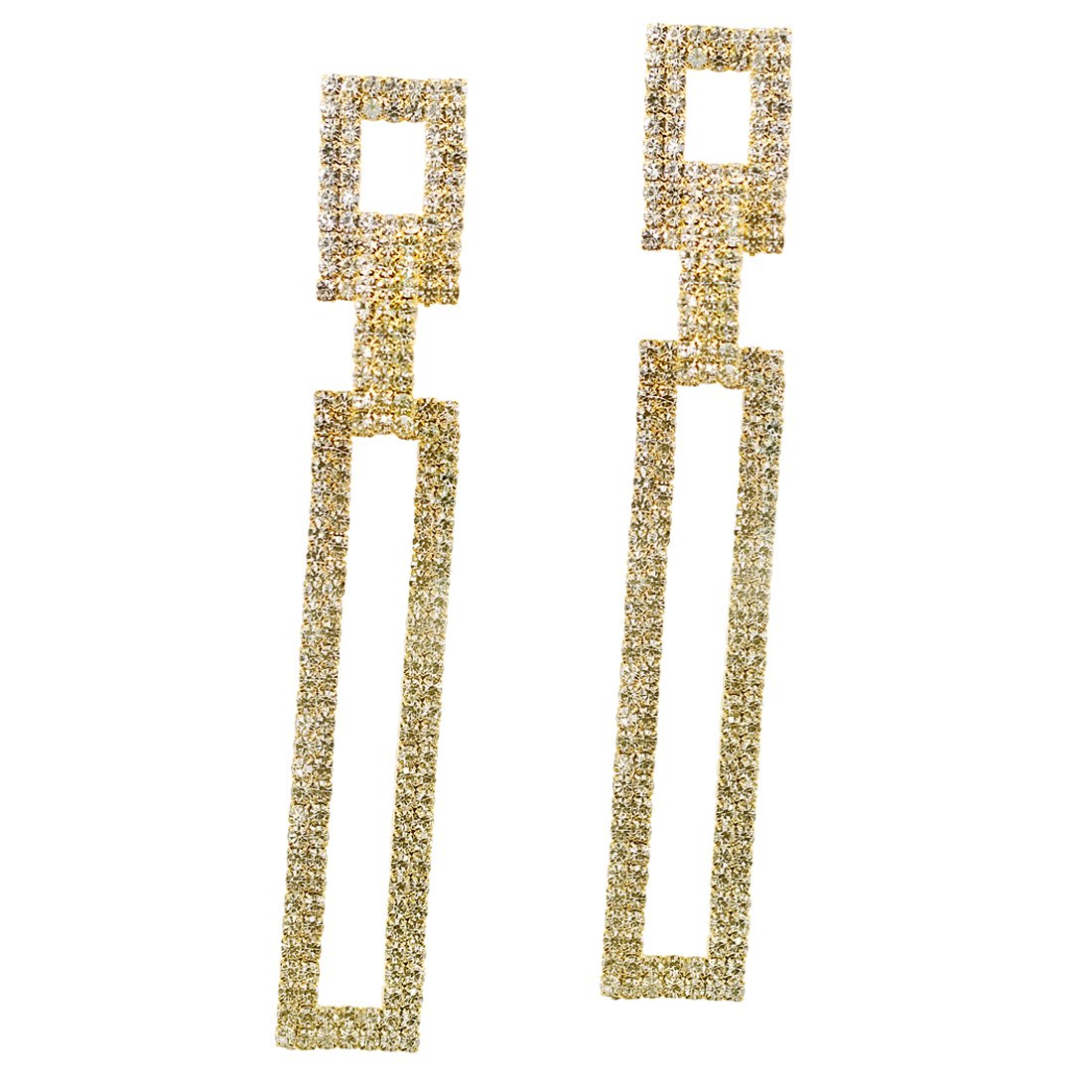 Juvel Jewelry Women Fashion Golden Plated Teardrop Crystal Long Sparkling Square Drop Dangle Tassels Style For Wedding Bridemaid