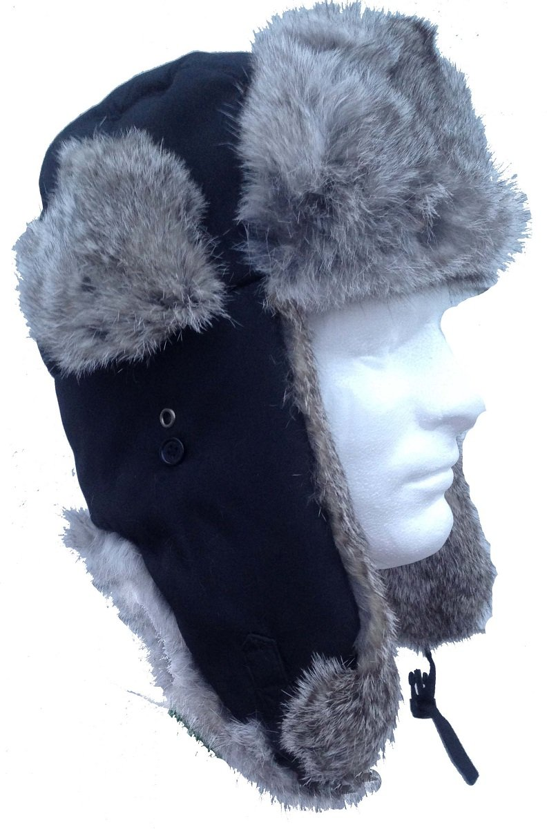 Black Nylon Real Silver Rabbit Fur Trooper Trapper Aviator Hat -Large