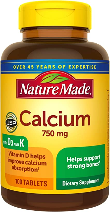 Amazon Com Nature Made Calcium 750 Mg With Vitamin D3 And K Helps Support Bone Strength Tablets 100 Ct Health Personal Care
