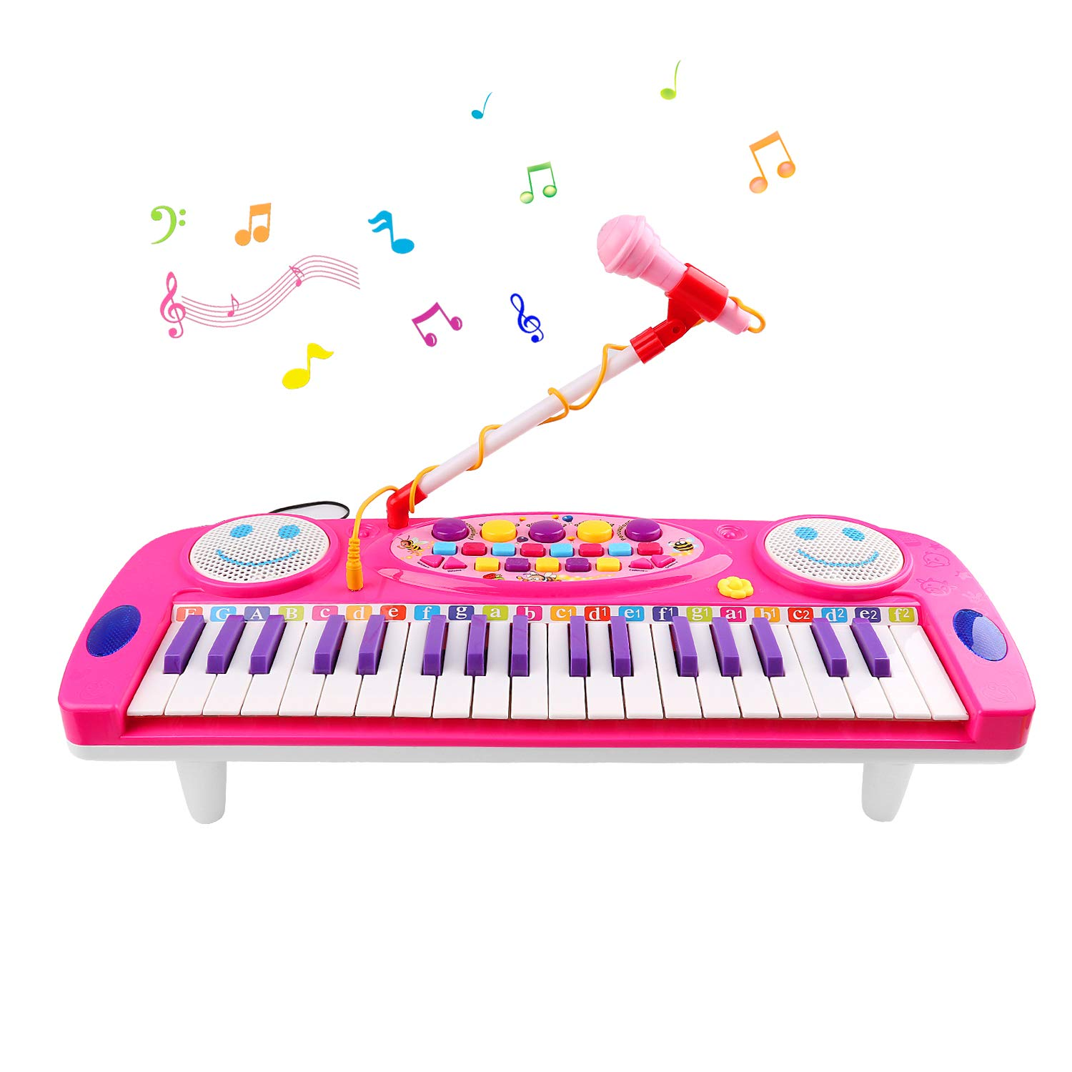 TWFRIC Piano for Kids, 37 Keys Digital Piano Music Keyboard with Microphone, Multi Portable Functional Electronic Musical Kid Piano Organ Instrument,Christmas Toys Best Gift for Boys&Girls(Pink)