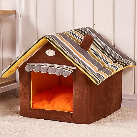 Casa Caseta de perro de felpa, color: café, amarillo y verde