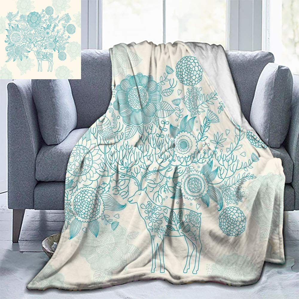 "Elxmzwlob Christmas Blankets,Silky Soft Plush Blanket,Deer,Deer Pattern On A Classical Floral Background with Flowers Ornamental Artwork,Turquoise Cream-Easy Care(70""X84"")"