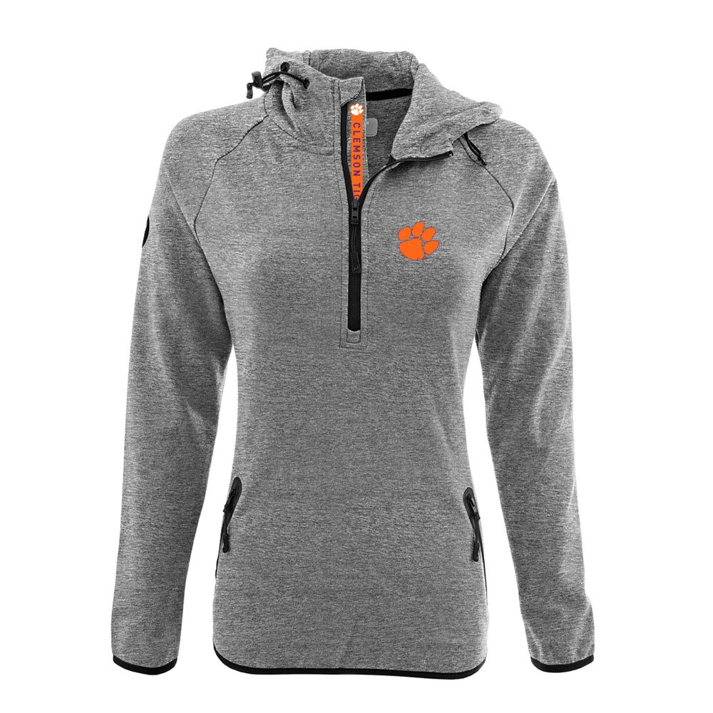 NCAA Women 's Faint Insignia太字Quarter Zipミッドレイヤーシャツ B074QV3D3C Small|Heather Pebble|Clemson Tigers Heather Pebble Small