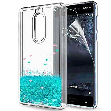 LeYi Funda Nokia 5 Silicona Purpurina Carcasa con HD Protectores de Pantalla,Transparente Cristal Bumper Telefono Gel TPU Fundas Case Cover Para Movil ...