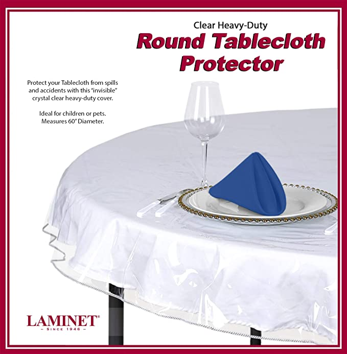Yourtablecloth Heavy Duty Clear Vinyl Round Fitted Tablecloth Table Cover