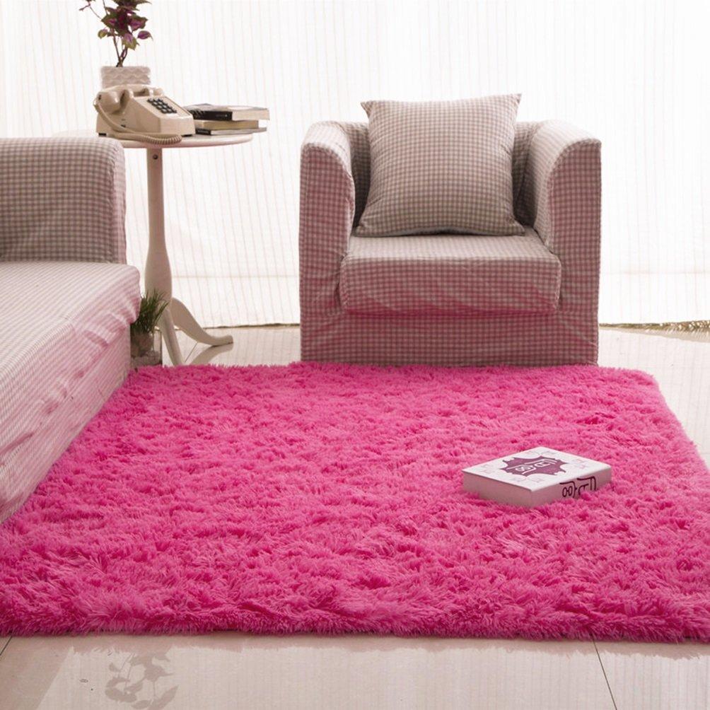 Rug WAN SAN QIAN- Children Bedroom Carpet Living Room Carpet Sofa Europe Princess Rectangle Blended Carpet Long Hair Coarse Shag (Color : Rose pink, Size : 80x160cm)