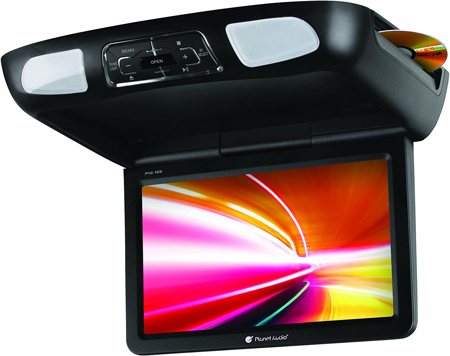 Planet Audio P10.1ES Car Roof-Mount Monitor and DVD Player - 10.1 Inch LCD, Widescreen, Flip-Down, FM Transmitter, IR Transmitter, Speakers, Dome Light, Interchangeable Black/Gray/Tan Housings