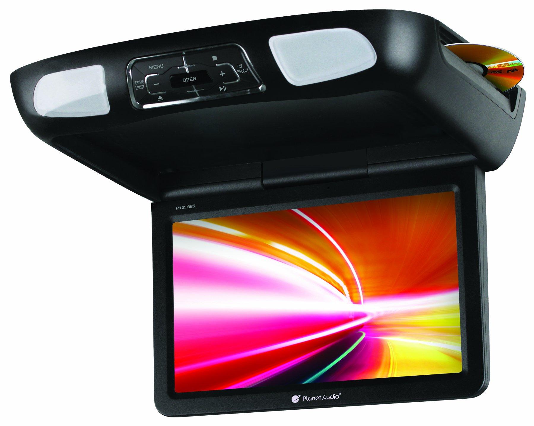 PLANET AUDIO P10.1ES Black/Grey/Tan 10.1'' Flip Down Car DVD Monitor+Headphones by Planet Audio