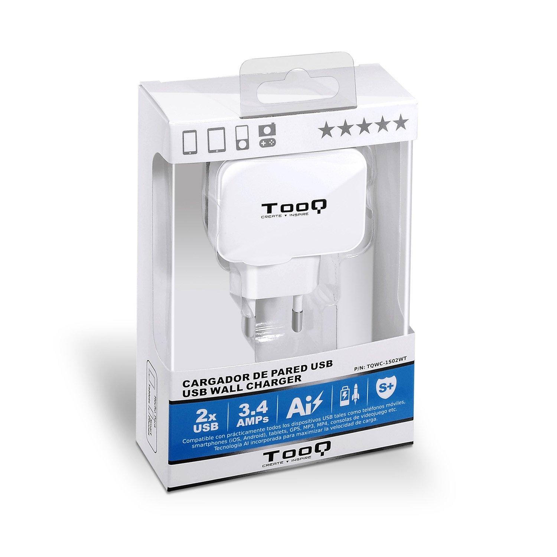 TooQ TQWC-1S02WT - Cargador de pared con 2 x USB (5V - 3.4 A, 17 W), con tecnologia AiPower, para iPad / iPhone / Samsung / Tablets / Smartphones, ...