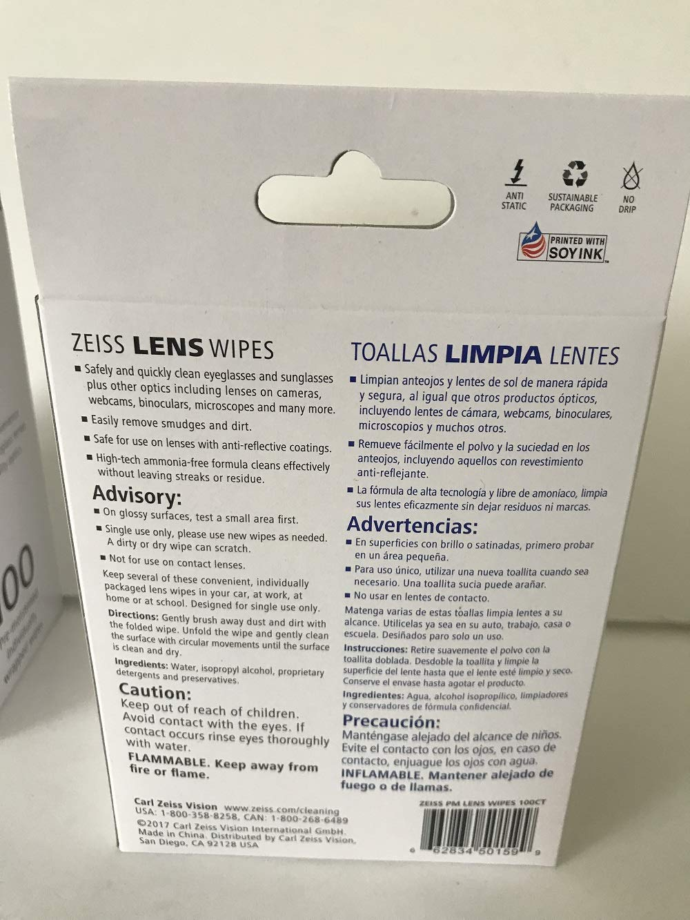 Amazon.com: Zeiss Pre-Moistened Lens Cleaning Wipes - Cleans Bacteria and Germs without Streaks for Eyeglasses and Sunglasses, 2 Pack (100CT): Health ...