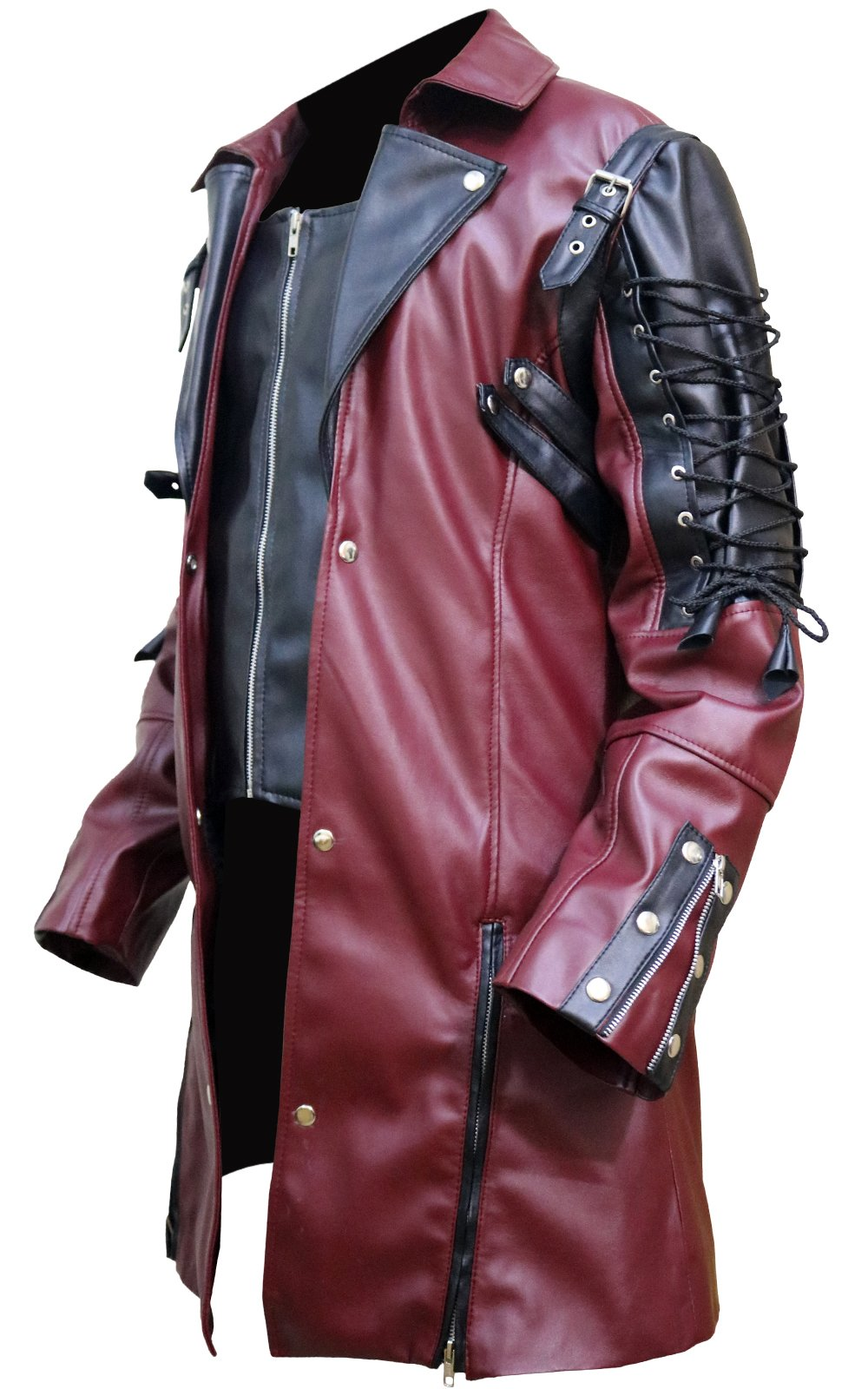FaddyRox Steampunk Gothic Men Faux Leather Maroon & Black Coat Jacket, XXS - 3XL 4
