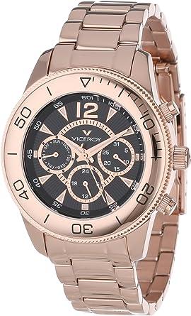 Reloj de mujer acero IP oro rosa multifuncion y esfera negra