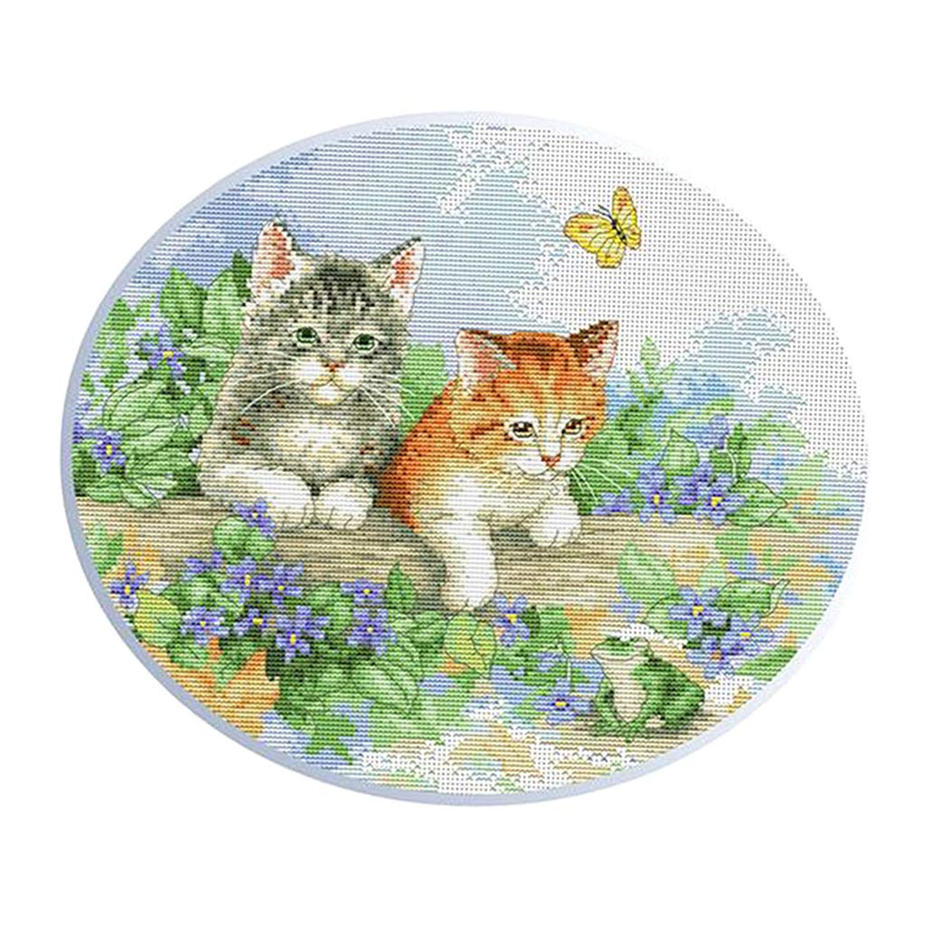 Cat Stamped Cross Stitch Kits Adults Beginners Handwork Set Bedroom Hotel Decor