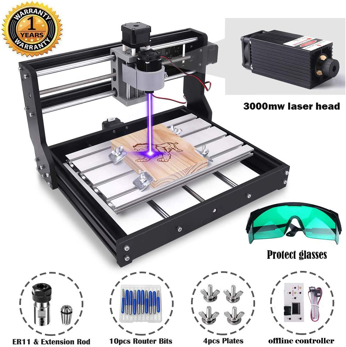 MYSWEETY 2-in-1DIY CNC 3018-PRO 3 Axis CNC Router Kit with 3000mW 3W Module + PCB Milling, Wood Carving Engraving Machine with Offline Control Board + ER11 and 5mm Extension Rod