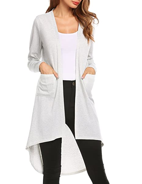 f7268880478c Zeagoo Women s Lightweight Knitted Open Front Long Duster Cardigan with  Pockets at Amazon Women s Clothing store