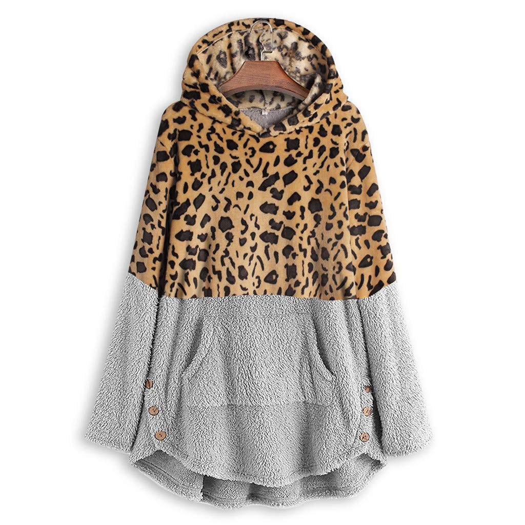 Plus Size Womens Hooded Leopard Coat Winter Fleece Long Sleeves Overcoat Sweatshirt Casual Sweater Top Blouse Hoodies M-5XL (3X-Large, Gray) by Aritone - women clothes