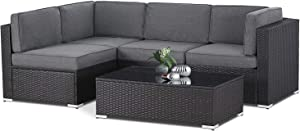 SOLAURA 5-Piece Patio Conversation Set, Black Brown Wicker Furniture Modular Sectional Sofas Outdoor Furniture Set for Garden,Yard, Deck, Lawns, Poolside - Gray