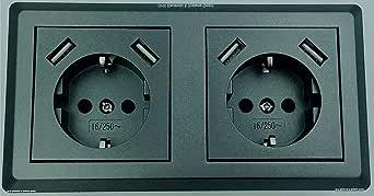 Enchufe doble Schuko con 4 puertos de carga USB (máx. 2800 mA ...