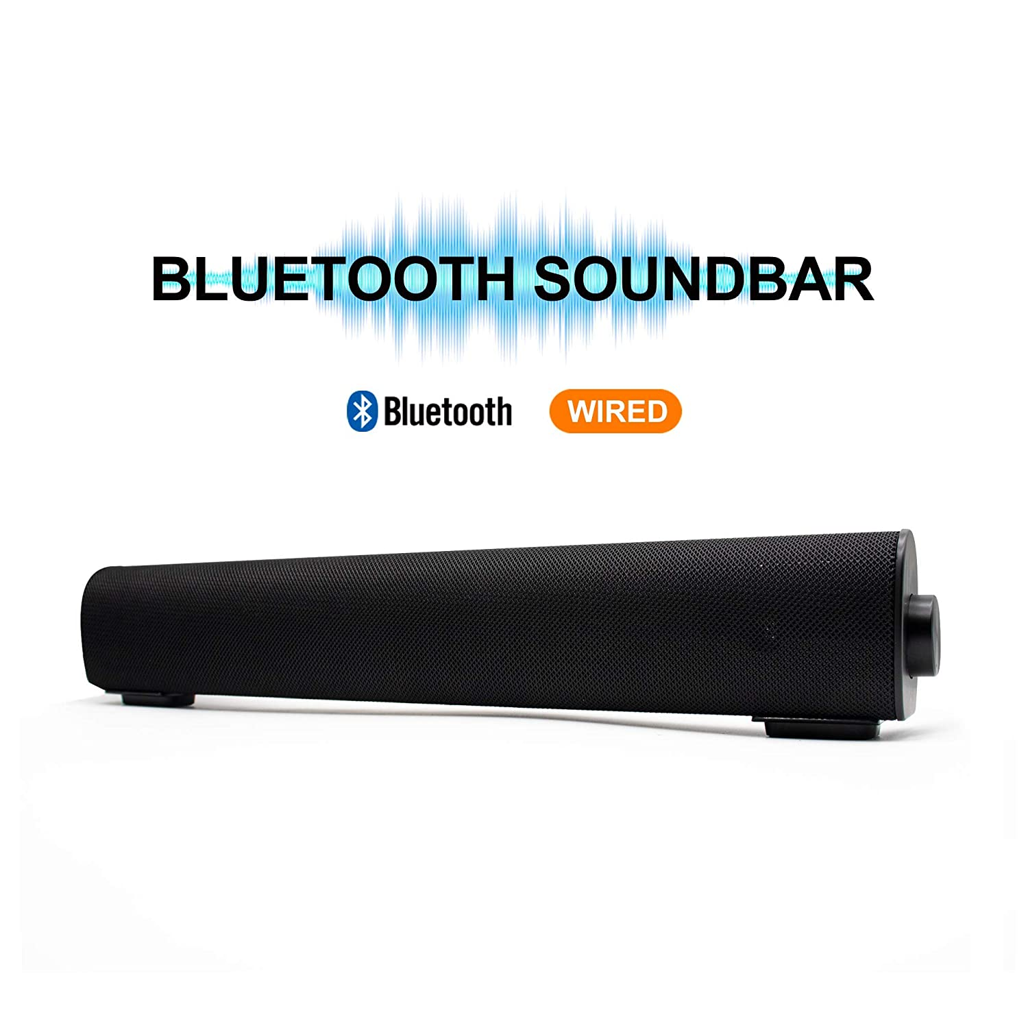 Soundbar Wired and Wireless Bluetooth Home Theater TV Stereo Speaker with Remote Control 2 X 5W Compact Sound Bar with Built-in Subwoofers for TV/PC/Phones/Tablets
