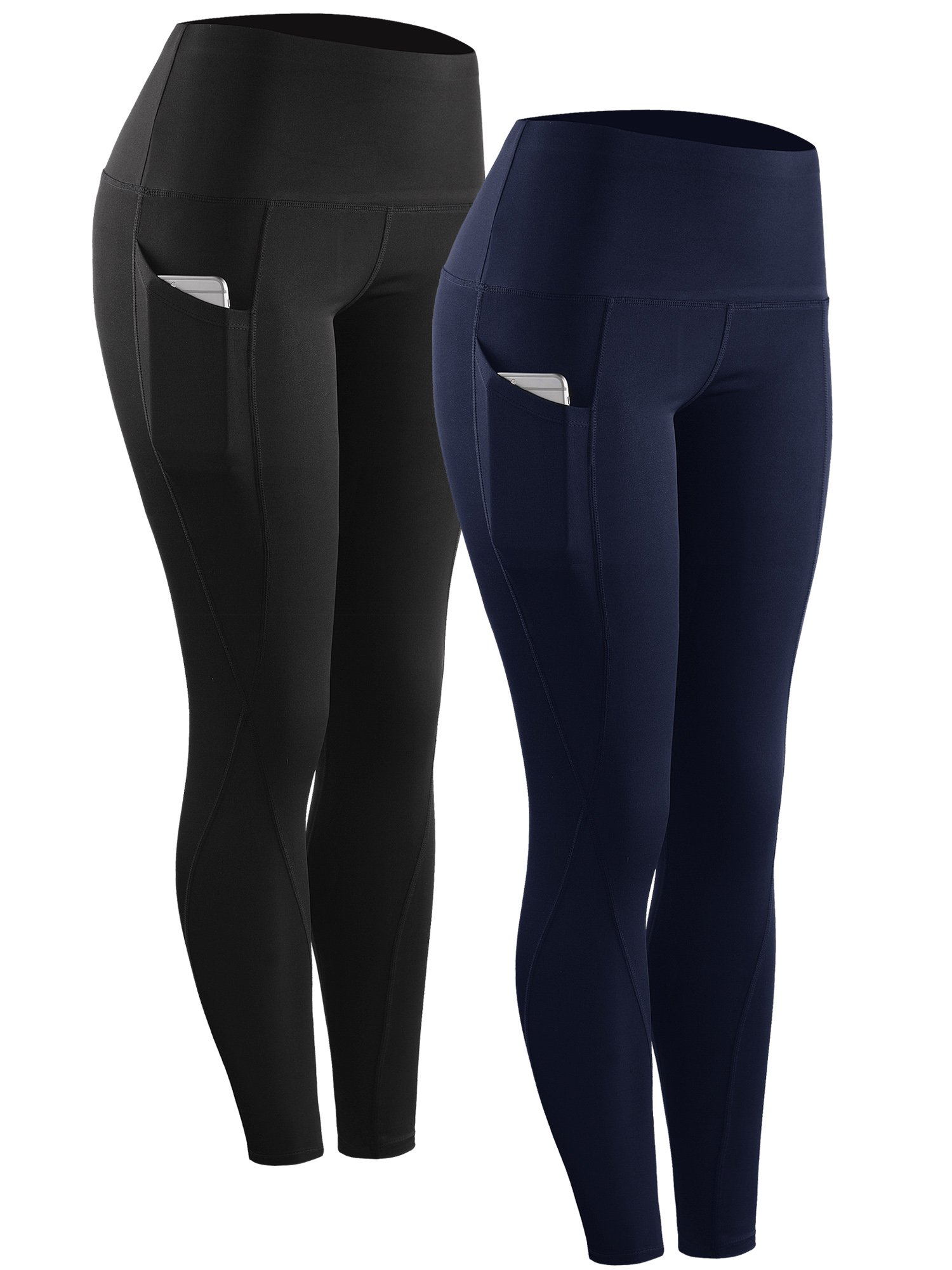 Neleus 2 Pack Tummy Control High Waist Running Workout Leggings,9017,2 Pack,Black,Navy Blue,M,EU L by Neleus