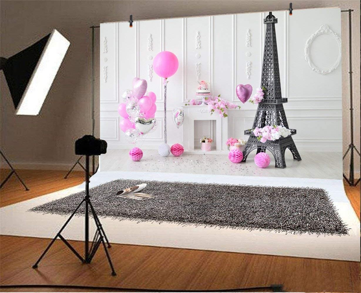 Sweet Baby Girl Birthday Party Backdrop 8x6.5ft Polyester Indoor Pink Sliver Balloon Bunches Eiffel Tower Purple Paper Poms Fireplace Photography Background Kids Baby Shoot Party Banner Cake Smash