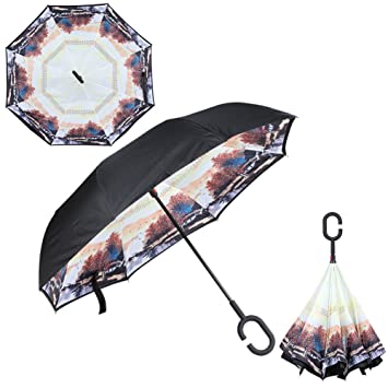 Purple Daisy Inverted Reverse Folding Umbrella For Double Layer Uv Proof Windproof Rain Protection C-hook Hands For Car Outdoor Home