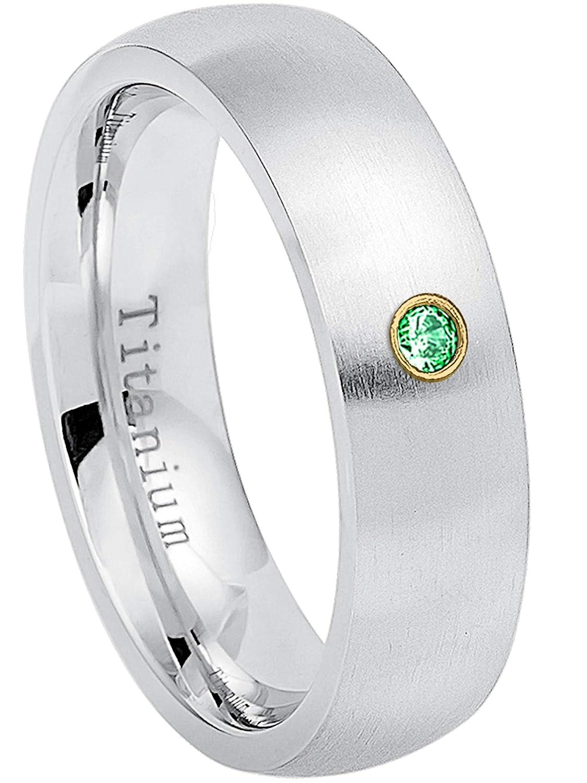 January Birthstone Ring 9.5 6MM Brushed Finish Comfort Fit Classic Dome White Wedding Band 0.07ct Tsavorite Titanium Ring