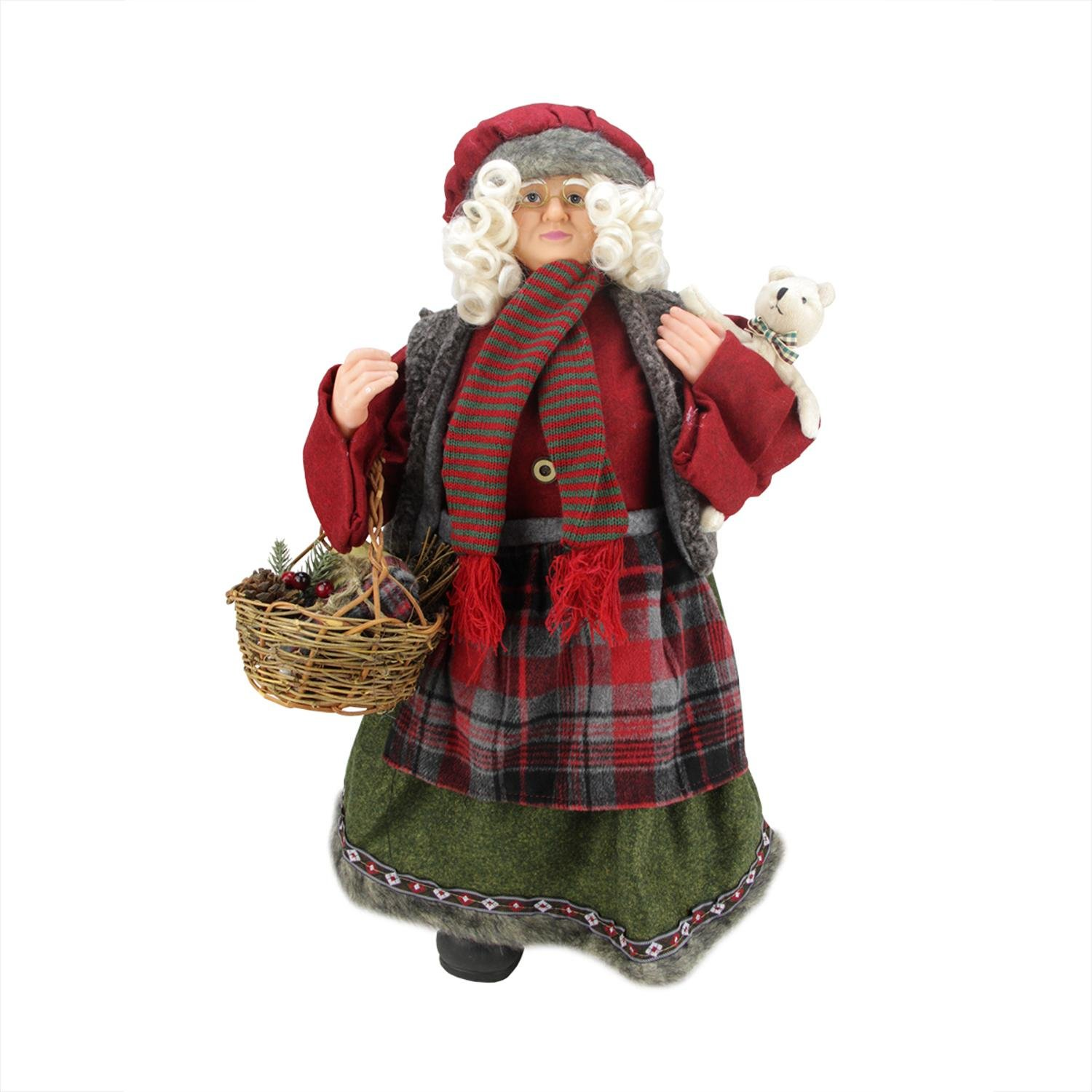 Northlight 24'' Country Rustic Chef Standing Mrs. Claus Christmas Figure with Basket
