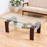 美感でスタイリッシュテーブル 120×50cm 丁度良い大きさ ディスプレイ センターテーブル 安心の強化ガラス ダークブラウン色