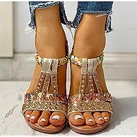 DZQQ Sandalias de Verano para Mujer, Zapatos de cuña con Plataforma Bohemia, Zapatos de Playa de Gladiador de Cristal…