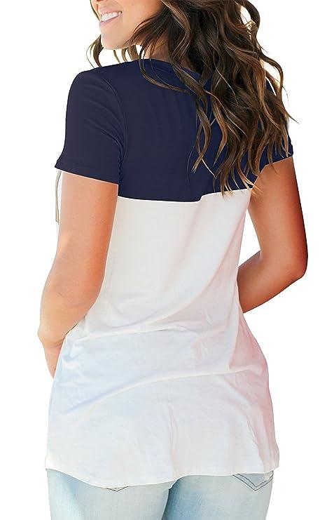 The Aron ONE T-Shirt Mujer Manga Corta Verano Básico Cuello en V Bloque de Color Casual Camiseta de Manga Corta T-Shirt con Bolsillo: Amazon.es: Ropa y ...