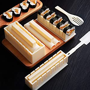 Sushi Making Tool Deluxe Version with Complete Fork Spatula Shaped Sushi Rice Roll Mold Sushi Making Kit Perfect DIY Home Sushi Tool 10 Piece Sushi Set